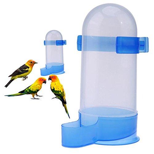 Pets Corner Market Plastic Bird Parrot Pigeon Feeder Drinking Fountain Kettle Feeder Cup Water Bowl Food Feeder Birds Supplies (Large, Blue)