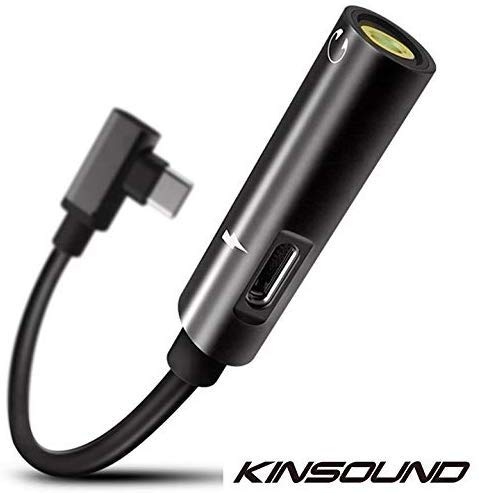 USB Type C to 3.5mm Female Audio Charging Adapter, Kinsound USB C to 3.5 mm Headphone Jack Adapter Support Audio + Charge for OnePlus 7 OnePlus 7 Pro 7T and Huawei Mate/PRO/Honor (Black)