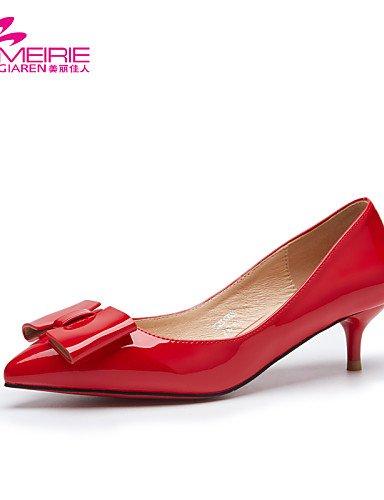 PDX/ Damenschuhe - Ballerinas - Lässig - Lackleder - Kitten Heel-Absatz - Spitzschuh / Geschlossene Zehe - Schwarz / Rosa / Rot / Grau , red-us7.5 / eu38 / uk5.5 / cn38 , red-us7.5 / eu38 / uk5.5 / cn