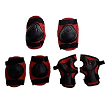 SODIAL(R) Red Black Skate Sports Knee Elbow Wrist Pad Support for Children