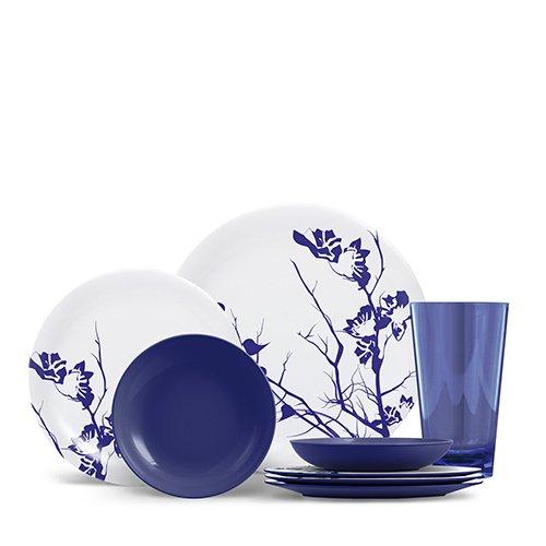 ThermoServ 16 Piece Melamine Dinnerware Set - Dogwood Floral - Cobalt Blue