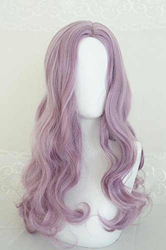 Generic Water Dance girls dream purple wig simulation scalp fringe of long curly hair and long hair fluffy big wave sets by Generic (Image #4)