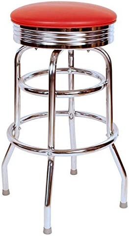 Retro Chrome Swivel Bar Stool with Red, Metal, 30 H
