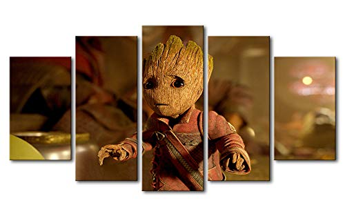 NATVVA 5 Pieces Baby Groot Paintings Living Room HD Printed Animation Posters Framework Canvas Wall Art Modular Pictures Home Decor]()