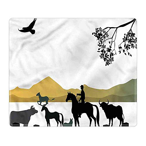 (Mouse Pad Lockrand Western,Silhouette of Cowboy Ranch)