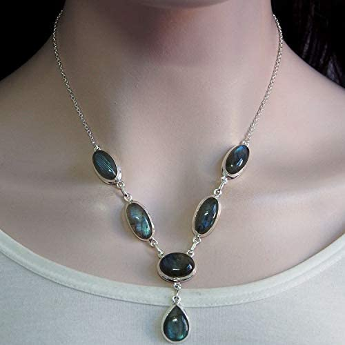 PN39 Pear /& Smooth weight in 17.45 ct Very High Quality  Stylish Natural Labradorite Silver Plated Pendant 25x12x7 mm