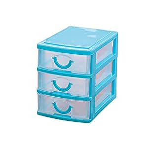 Homeleii Mini Desktop Drawer Storage Box Sundries Case Cosmetics Box Desktop Organizer (3 layers:4.93.54.5 inch, Blue)