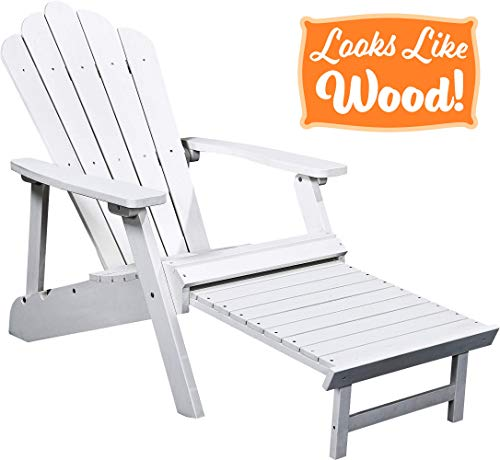 PolyTEAK Deluxe Oversized Reclining Adirondack Chair with Pullout Ottoman, Powder White