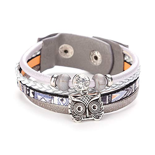 WoCoo Multilayer Leather Wrap Bracelets Cute Owl Handmade Braided Wrap Cuff Buckle Casual Bangle for Women&Girl Gift(A)