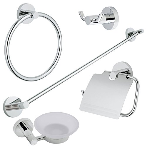 Plaza 5 Piece Bath Accessories Hardware Set Hotel Collection, Polished Chrome
