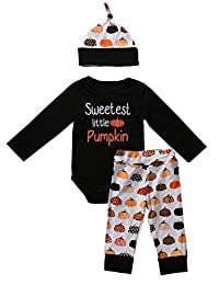 Newborn Baby Boy Girl Pumpkin Bodysuit + Long Pants + Hat Halloween Clothes Outfit