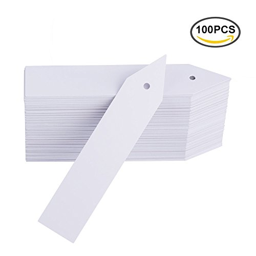Mkono 100 Pcs Plastic Plant Labels Tags 4 Inch Garden Marker with Hole for Seed Trays and Pots Greenhouse Supplies by Garden Stick