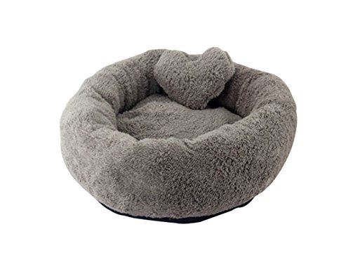 Freerun Warm Soft Cozy Durable Pets Dogs Cats Round Shape Machine Washable Pets Beds (Gray, S)