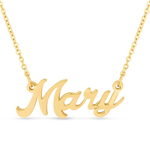 Beam Reach Mary Nameplate Necklace in Gold Tone