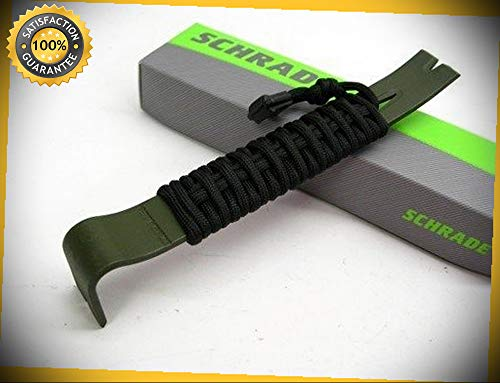 Olive Drab Sk5 Steel 7.5'' Pry Bar Paracord Wrapped Tool SCHPB1OD perfect for outdoor camping hunting (Wrapped Pillar Silver)
