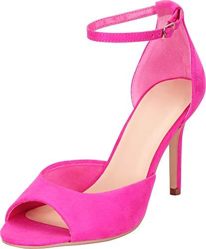 Cambridge Select Women's Classic Open Toe Ankle Strap Stiletto High Heel Sandal,9 B(M) US,Hot Pink ()