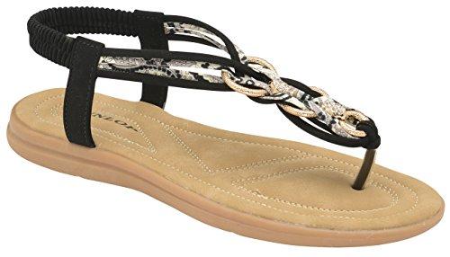 Elastico Post T Dunlop Infradito Cinturino Da Clip Black A Spiaggia Rotondo Folk Scarpe Donna Estate Piatto Punta Sandali 6xvrZq6w