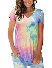 2639f5fc Women's Tops Tie Dye V Neck Summer Casual Short Sleeve T Shirts