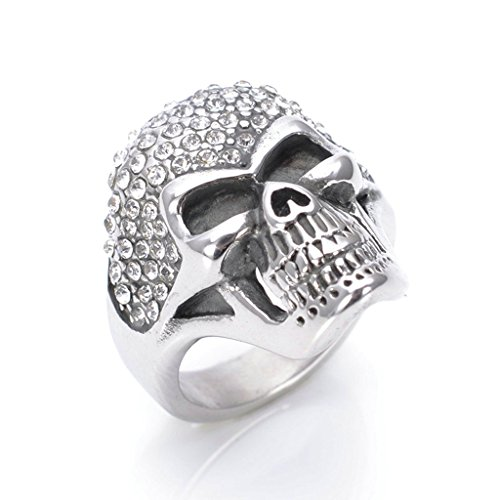Sauron Eye Costume (Men's 316L Stainless Steel Cubic Zirconia Skull Ring Silver Size 7)