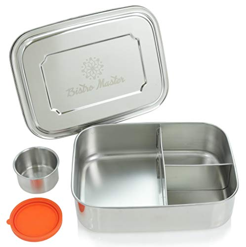 Bistro Master Large Stainless Steel Food Container - Three Section Bento Sandwich Lunch Box for Kids or Adults - Dishwasher Safe and BPA-Free - Plus Bonus Condiment Container