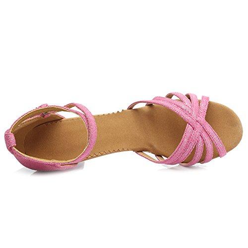 HROYL Zapatos de baile/Zapatos latinos de Leather mujeres EM5-18106 Rosa