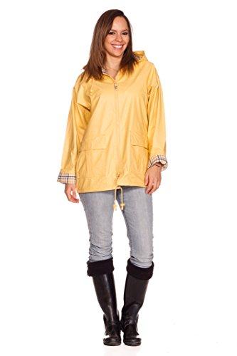 Rain Slickers For Women (Rain Slicks Women's Classic Look Raincoat Hooded Plaid Lined Waterproof Jacket Large Yellow)