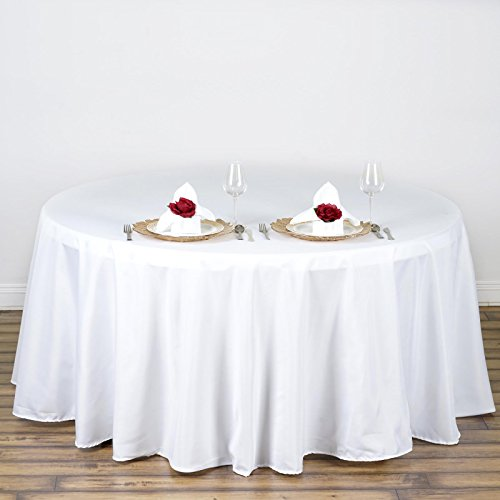 BalsaCircle 108-Inch White Round Polyester Tablecloth Table Cover Linens for Wedding Party Events Kitchen Dining