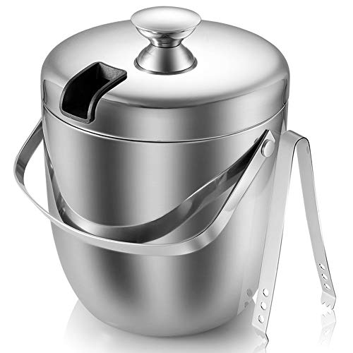 Insulated Ice Bucket,Stainless Steel Double Wall Ice Bucket with Lid and Tongs,2.8-Litre,Silver