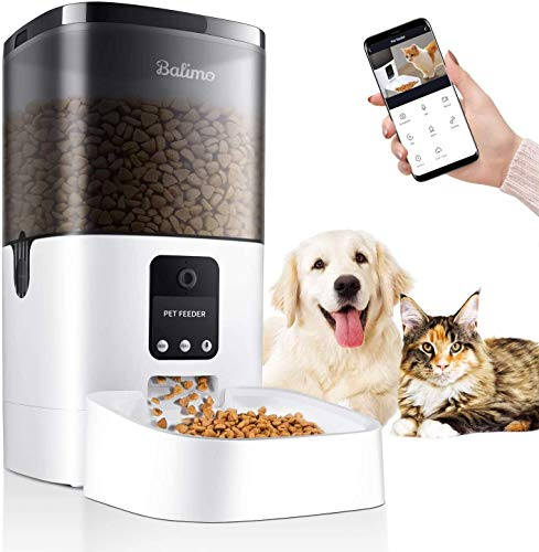 Balimo 6L Automatic Pet Feeder with 1080P HD WiFi Camera, App Control Pet Feeder for Cat and Dog, Timer Programmable…