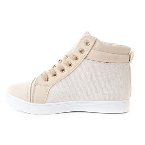 Women's High Top Zipper Soho Sneakers white Leatherette Shoes Quilted Up Lace Beige qwxA50x7