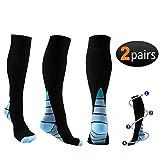 Reehut 2 Pairs Compression Socks (20-30mmHg) for Men & Women - Great for Running, Nursing, Medical, Athletic, Edema, Flight Travel, Pregnancy and Shin Splints