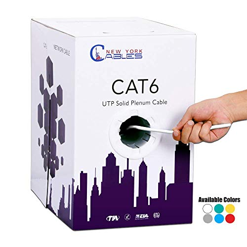 (CAT6 Plenum (CMP) 1000ft Bulk Ethernet Cable [ETL Listed] | White | 550MHz, 23AWG, UTP | FLUKE Tested | Guaranteed High Performance)