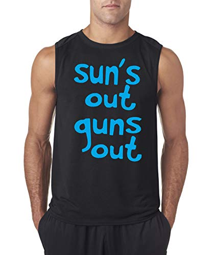 Trendy USA 203 - Men's Sleeveless Sun's Out Guns Out 22 Jump Street Funny Large Black