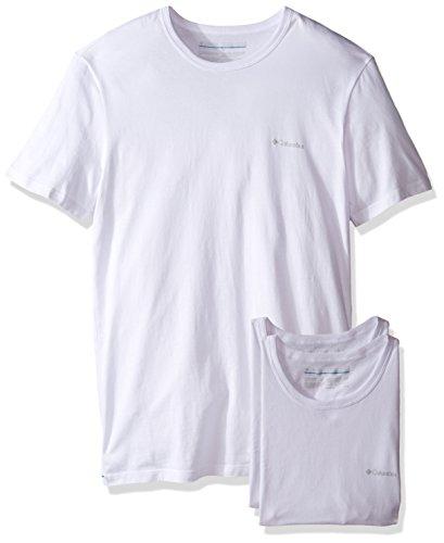 Columbia Men's 3 +1 Bonus Pack Cotton Crew Neck T-Shirt, White/White, (1 Bonus Pack)