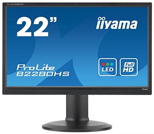 Iiyama ProLite B2280HS (21.5 inch) LED Backlit LCD Monitor 1000:1 250cd/m2 (1920x1080) 5ms VGA/DVI/HDMI (Black)
