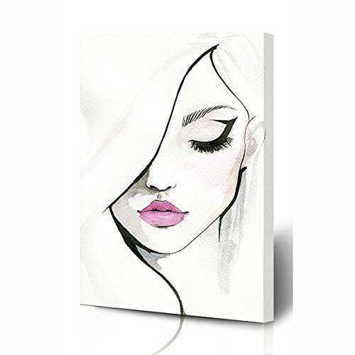 Ahawoso Canvas Prints Wall Art 8x12 Inches Black Pink Eyeliner Watercolor Pretty Make Elegance Watercolour Face Girl Eye Artist Lips Wooden Frame Printing Home Living Room Office Bedroom (Actresses With Dark Hair And Green Eyes)