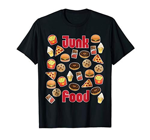 - Emoji Junk Food T-Shirt Pizza Fries Donut Hamburger Emoticon