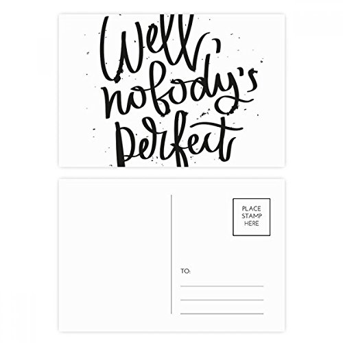 Well Nobody's Perfect Quote Postcard Set Birthday Thanks Card Mailing Side 20pcs