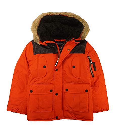 London Fog Boys' Big Warm Winter Coat Parka with Cozy Trimmed Hood, Real Orange 8 ()