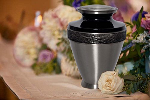 Atlas Cremation Urn – Solid Brass Urn for Human Ashes – 100 Handcrafted Adult Funeral Urn – Large Urn with Free Bag Pewter Black