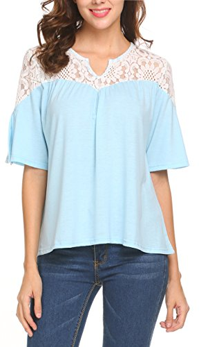Sweetnight Women Gentle Glow Lace Blouse Short Sleeve Tops (Blue, (Spring Eyelet)