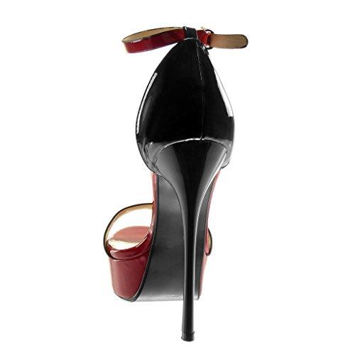 Decollete Stiletto Caviglia 14 Rosso Angkorly Alla Cinturino Moda Tacco Cm Sandali Donna Tanga Scarpe Verniciato Alto Zeppe 5 Con pwFqSw
