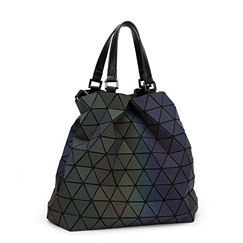 Briefcase Bag Japanese Luminous large Shoulder Luminous Mosaic Messenger Bag Diamond Ladies Square Style Folding Bucket Frosted Bag w6xdxtqf