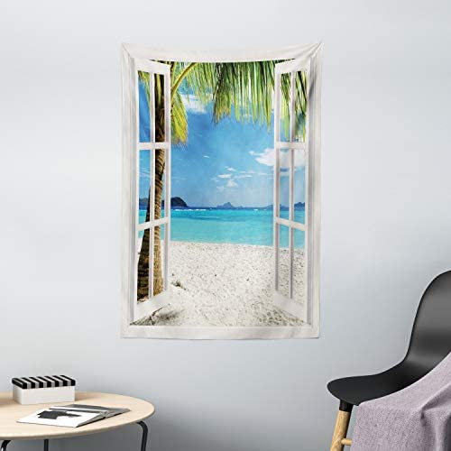 Ambesonne Turquoise Tapestry, Tropical Palm Trees on Island Ocean Beach Through White Wooden Windows, Wall Hanging for Bedroom Living Room Dorm Decor, 40 X 60 , White Blue