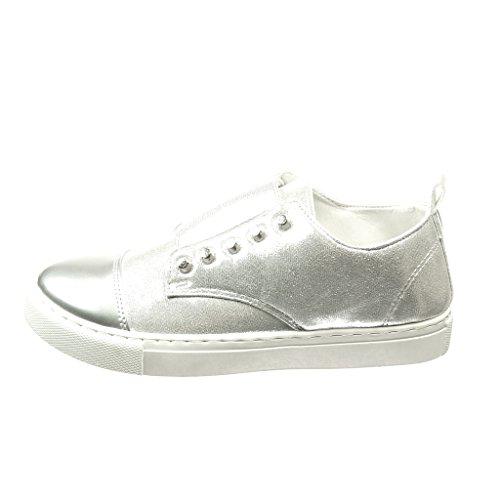 Chaussure CM bi 5 Talon clouté Baskets compensé brillant 2 Mode femme matière Angkorly TwaSxa