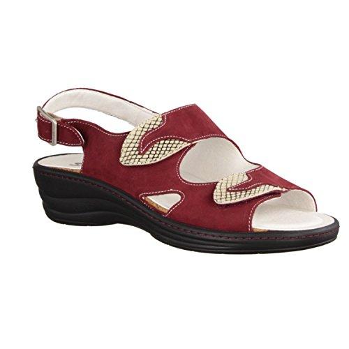 Slowlies 158 - Zapatos mujer Sandalia cómodo / relleno suelto, Rojo, cuero (nubuc)