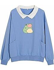KIEKIECOO Frog Swearshirt Graphic Aesthetic Oversize Clothes Cotton Pullover Feminino Hoodies with Pocket Kawaii