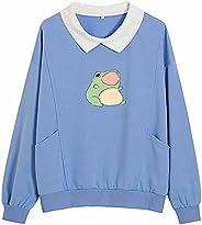 KIEKIECOO Frog Swearshirt Graphic Aesthetic Oversize Clothes Cotton Pullover Feminino Hoodies with Pocket Kawa