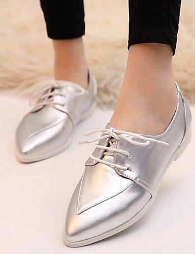 ZQ 2016 Zapatos de mujer - Tacón Plano - Puntiagudos - Oxfords - Casual - Semicuero - Blanco / Plata , white-us7.5 / eu38 / uk5.5 / cn38 , white-us7.5 / eu38 / uk5.5 / cn38 silver-us8 / eu39 / uk6 / cn39