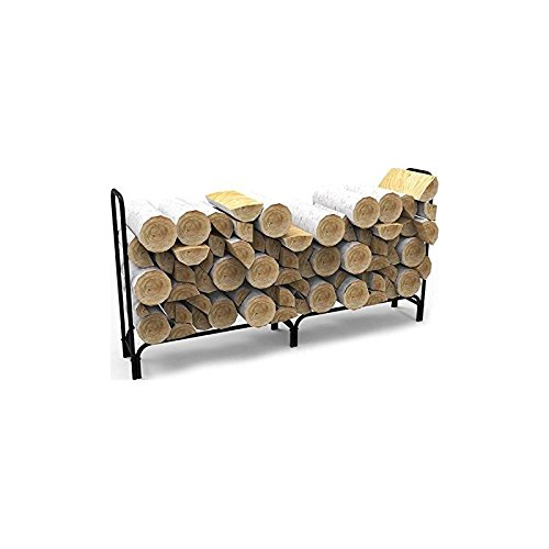 Gibson Living 8 Foot Black Shelter Firewood Log Rack